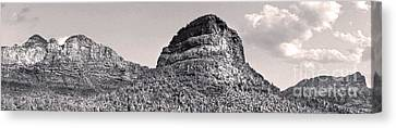 Sedona Arizona Panorama In Black And White Canvas Print by Gregory Dyer