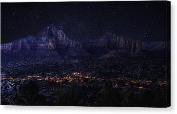 Canvas Print featuring the photograph Sedona By Night by Lynn Geoffroy