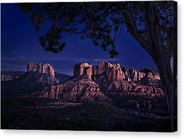 Sedona Cathedral Rock Post Sunset Glow Canvas Print by Mary Jo Allen