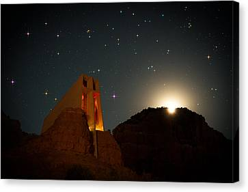 Copyright 2013 By Mike Berenson Canvas Print - Sedona Chapel Moonrise Vortex by Mike Berenson
