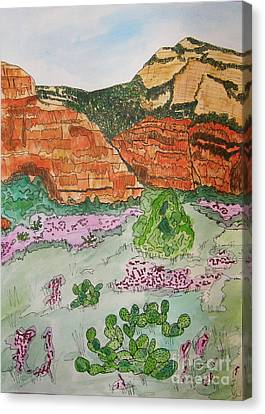 Sedona Mountain With Pears And Clover Canvas Print
