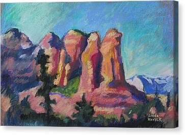 Canvas Print featuring the painting Sedona Peaks by Linda Novick