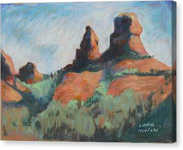 Canvas Print featuring the painting Sedona Sisters by Linda Novick