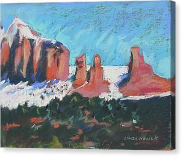 Canvas Print featuring the painting Sedona Snowfall by Linda Novick
