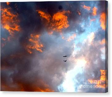 Sedona Sunset Ravens Canvas Print by Marlene Rose Besso