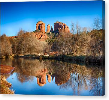 Sedona Winter Reflections Canvas Print by Fred Larson