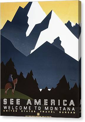 See America - Montana Mountains Canvas Print by Georgia Fowler