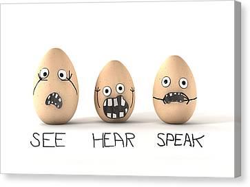 See Hear Speak No Evil Eggs Canvas Print