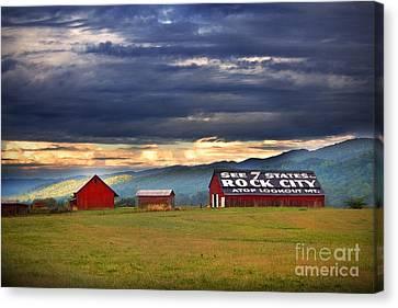 Tn Barn Canvas Print - See Rock City by T Lowry Wilson