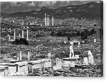 Ancient Greek Ruins Canvas Print - Seeing Ruins On Delos Island by John Rizzuto