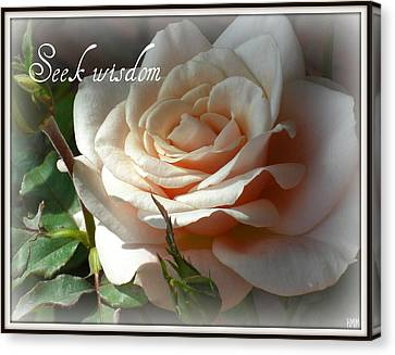 Canvas Print featuring the photograph Seek Wisdom Rose by Heidi Manly
