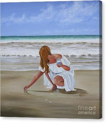 Sandy Beach Canvas Print - Seeking Sea Glass by Patricia Newton
