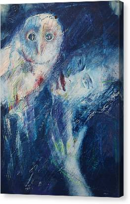 Woman And Owl Canvas Print - Seeress by B J Stehlin