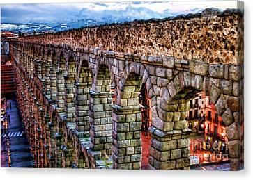 Segovia Aqueduct Spain By Diana Sainz Canvas Print by Diana Sainz