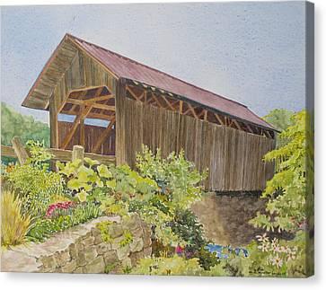 Seguin Covered Bridge In Charlotte Vermont Canvas Print by Mary Ellen Mueller Legault