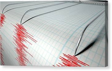 Seismograph Earthquake Activity Canvas Print by Allan Swart