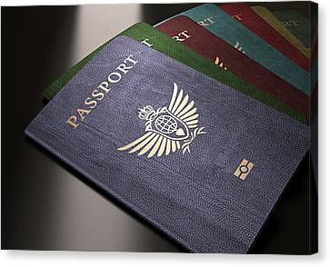 Selection Of Passports Canvas Print by Ktsdesign