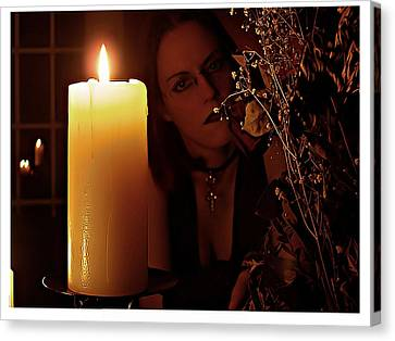 Gothic Canvas Print - Selena Candle Light And Dead Roses by Matt Nelson