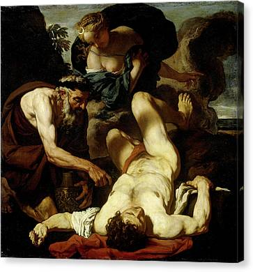 Selene And Endymion, Formerly Entitled The Death Of Orion Canvas Print by Litz Collection