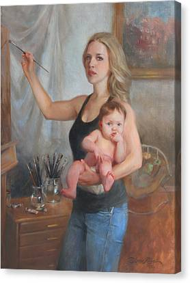 Self Portrait At 29 Canvas Print by Anna Rose Bain