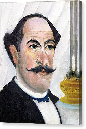 Oil Lamp Canvas Print - Self Portrait by Henri J F Rousseau