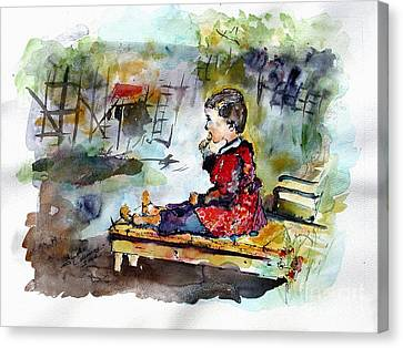 Self Portrait Childhood Canvas Print by Ginette Callaway