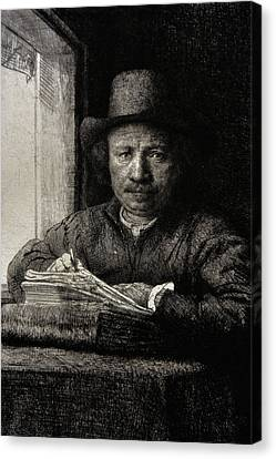 Self-portrait Etching At A Window Canvas Print