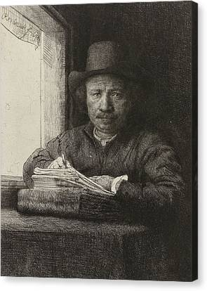 Self-portrait Etching At A Window Canvas Print by Rembrandt