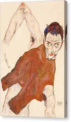 Self Portrait In A Jerkin With Right Elbow Raised Canvas Print by Egon Schiele