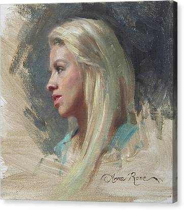 Self Portrait In Profile Canvas Print by Anna Rose Bain