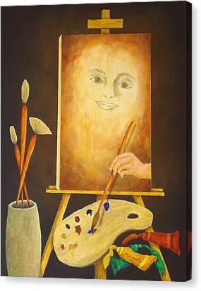 Self-portrait In Progress Canvas Print by Pamela Allegretto