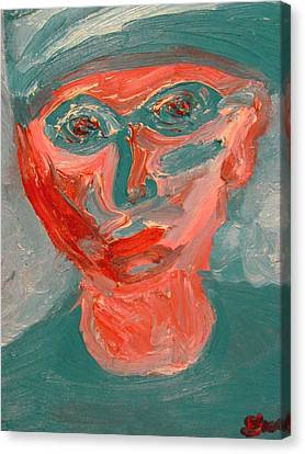 Self Portrait In Turquoise And Rose Canvas Print by Shea Holliman