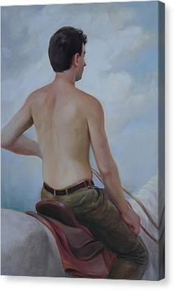 Canvas Print featuring the painting Self-portrait On Horseback by Svitozar Nenyuk