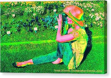 Self Portrait On The Arboretum Grounds In Spring Canvas Print by ARTography by Pamela Smale Williams
