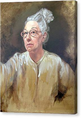 Self Portrait White Satin Canvas Print by Kathryn Donatelli