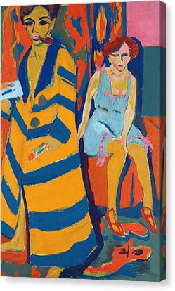 Self Portrait With A Model Canvas Print by Ernst Ludwig Kirchner