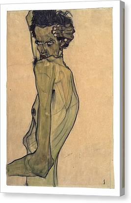 Self-portrait With Arm Twisted Above Head Canvas Print