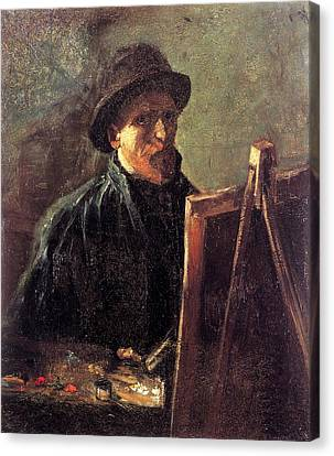 Self-portrait With Dark Felt Hat At The Easel Canvas Print by Vincent van Gogh