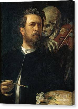 Self-portrait With Death As A Fiddler Canvas Print by Celestial Images