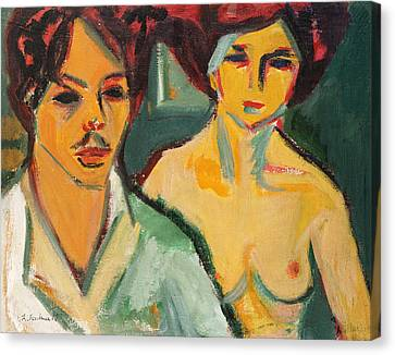 Self Portrait With Model Canvas Print by Ernst Ludwig Kirchner