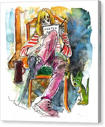 Self Portrait With Mouse Canvas Print by Miki De Goodaboom