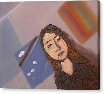 Canvas Print featuring the painting Self-portrait2 by Min Zou