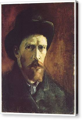 Self-portriat With Dark Felt Hat Canvas Print by Vincent Van Gogh