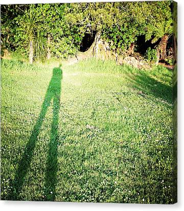 Selfie Shadow Canvas Print by Les Cunliffe