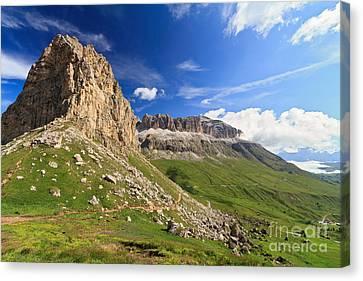 Canvas Print featuring the photograph Sella Mountain And Pordoi Pass by Antonio Scarpi