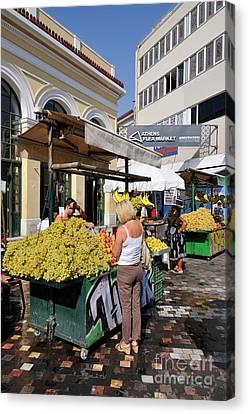 Women Canvas Print - Selling Fruits In Monastiraki Square by George Atsametakis