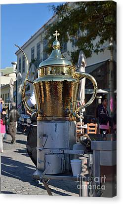 Selling Julep In Flea Market Of Athens Canvas Print by George Atsametakis