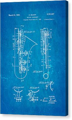 Selmer Saxophone Patent Art 1939 Blueprint Canvas Print by Ian Monk