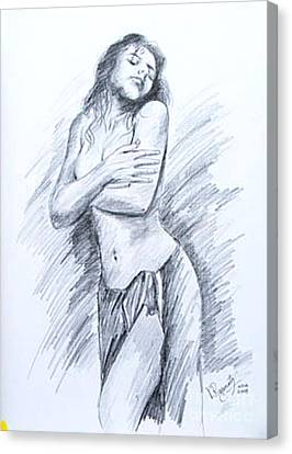 Canvas Print featuring the painting Semi Nude by Ragunath Venkatraman