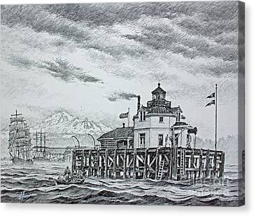 Semiahmoo Lighthouse - Drawing Canvas Print by James Williamson